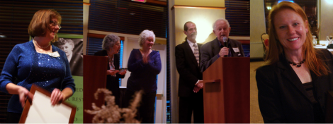 From left to right: Susan MiHalo (President's Award), Irene Herlocker-Meyer (Paul H. Douglas Memorial Award, with President Jeanette Neagu), Harold Olin (Paul H. Douglas Memorial Award, with MC Tom Serynek), and Deborah Chubb (President's Award)